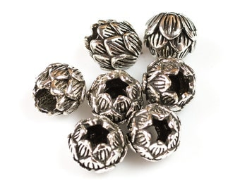 Lotus Beads 925 Bali Sterling silver 1 per order-s1