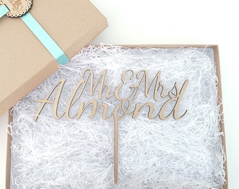 Personalised Wedding Cake Topper, LARGE Mr & Mrs Cake Topper, Wooden Cake Topper, Glitter Cake Topper, Rustic Cake Topper, Various Colours