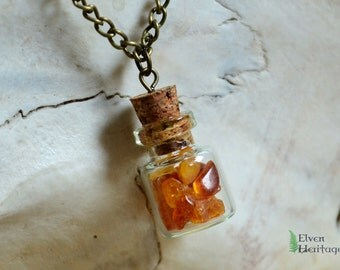 Baltic amber cork glass bottle necklace
