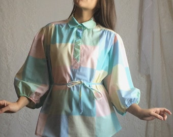70s Pastel Checkered Blouse // Vintage Easter Spring Collared Blouse Top Shirt // Size: M