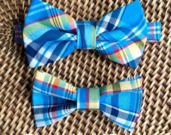 Blue Bow Tie, Blue Plaid Bow Ties, Father Son Bow Tie Set, Daddy Son Ties, Blue Father/Son Ties, Blue Daddy/Son Ties