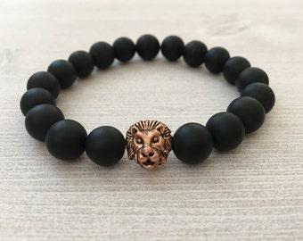 Matte Black Onyx Copper Lion's Head Bracelet