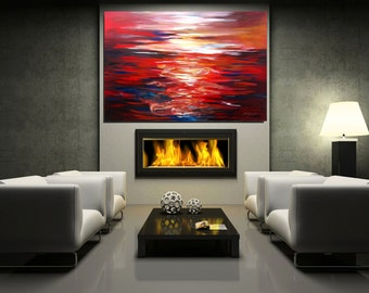 Large Red Abstract Painting Large Wall Art Red Art Modern Painting Living room Painting MADE TO ORDER