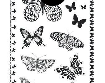 Butterflies Black Temporary Tattoo Festival Flash Tattoos  Tattoo Beauty Makeup