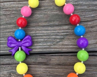Bright Rainbow Chunky Necklace, Bright Rainbow Bubblegum Necklace, Rainbow Bubblegum Necklace, Colorful Chunky Necklace, Rainbow Necklace