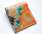 Leather pouch wallet, hand painted pouch wallet, receipt pouch, pocket wallet, marble dye, leather coin purse