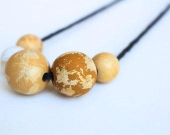 Wood Necklace, Wood Bead Necklace, pastel yellow and gold beads, wooden jewelry, wood pendant necklace