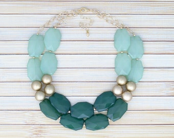 Statement Necklace - Big Chunky Necklace - Forest and Mint Green Bib Multiple Strand Necklace - Bridesmaid Necklace Anniversary Gift for Her