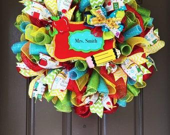 Teacher Wreath, Classroom Wreath, Back to School Wreath, Education Wreath, Teachers Gift, Teacher Appreciation, Classroom Decor, Class Sign