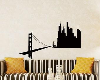 Wall Decals San Francisco SF City Skyline Silhouette Decal Sticker Vinyl Decals Wall Decor Murals Z512