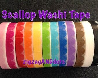 WS31: Scallop Washi Tape Samples, 24 Inches, FREE Samples Available, 12 Colors to Choose From, Planner Decorations