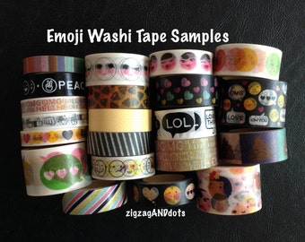 WS40: Emoji Washi Tape Samples, 24 Inches, FREE Samples Available, 20+ Designs and Various Width Sizes, Planner Decorations, Recollections