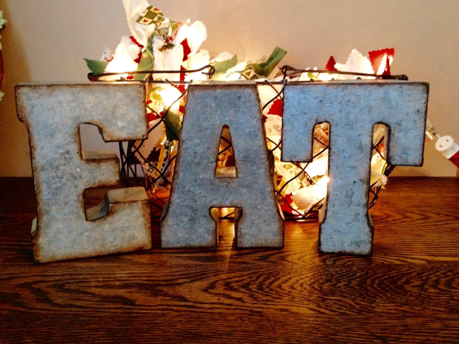 Large Galvanized Metal Eat Letters 3d Hanging Kitchen Wall