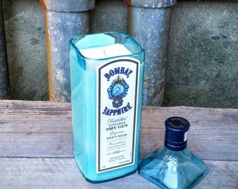 Bombay Sapphire Scented Candle, Upcycled Blue Glass Gin Bottle