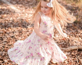 Girls Floral Dress / Girls Tiered Dress / Girls Ruffle Dress