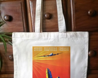 cotton tote bag with reproduction vintage travel poster print - Bag 03