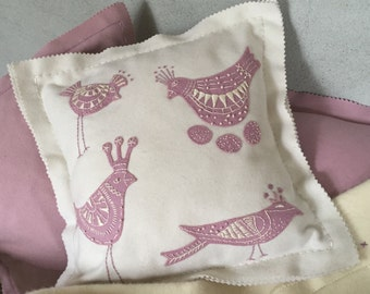 EMBROIDERY & APPLIQUE KIT Bespoke, pink birdie, scandinavian style cushion kit in  pure wool.