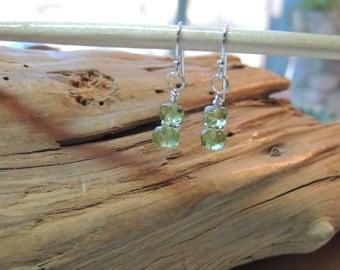 Peridot earrings - peridot jewelry - bridesmaid earrings - August birthstone - green earrings- dangle earrings silver - holiday earrings