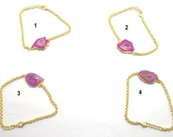 Statement Bracelet,Agate Bracelet,druzy bracelets,Electroplated Druzy Bracelet of Gold Plated of SAC2070DB