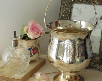 Vintage silver plate ice bucket with original draining plate