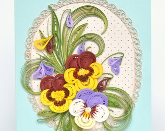 Quilling Card with graceful Spring pansies - Birthday quilling Card - Love quilling card - Spring flowers