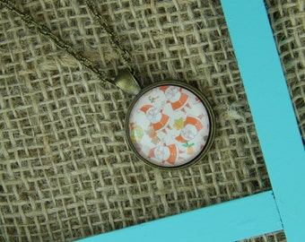 Where's Santa? round glass pendant antique bronze necklace