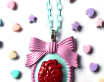 Pink-Blue Anatomically Correct Heart Cameo Necklace - creepy cute necklace