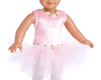 Prima Ballerina - Doll Clothes for 18 inch American Girl Doll - 3 Piece Ballet Outfit - Pink Leotard with Tutu, White Tights and Slippers