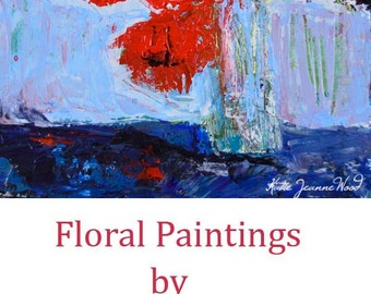 Red & Blue Acrylic Flower Painting. Still Life Floral Painting. Bouquet Red Flowers. Kitchen Wall Decor. Romantic Gift For Her. 29