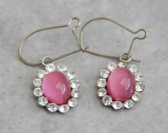 rose pink cluster earrings vintage 1950s - gifts for her