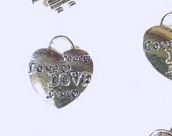 Charms - Silver Charms - 12 Heart Charms - Charms for Jewelry Making - Cute Charms for Purses, Key Chains - Diy Jewelry Supplies - CH-S019