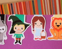 Wizard of Oz Magnetic Bookmark Set | Dorothy, Scarecrow, Tin Man and Lion