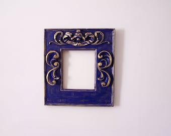 Resin frame - Blue and gold frame - Baroque frame - Molded frame