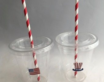 Patriotic Party Cups with Lids and Straws: Independence Day Plastic Drink Cups, 4th July Party Cups, July 4th Disposable Cup