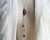 Amethyst Necklace (242n): Handmade Jewelry, Violet Ray Necklace, Violet Flame Necklace, Purple Necklace, Chevron Amethyst, Tassel Necklace