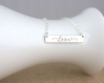 Love Necklace - Silver Bar necklace, nameplate necklace, silver bar necklace