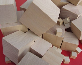 10 Pack Wooden Craft Blocks Wood Cubes sizes 10mm to 75mm Hardwood Block Minecraft