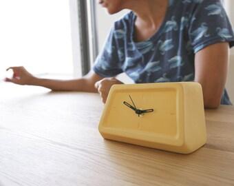 Modern Yellow Clock, Table Clock, Desk Clock, Ceramic Clock, Unique Clocks,