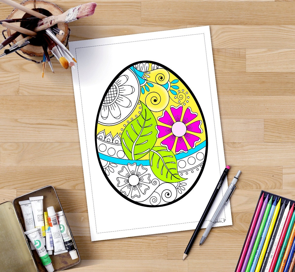 Easter coloring page for adults ornate egg easter egg - Site de bricolage pour adulte ...