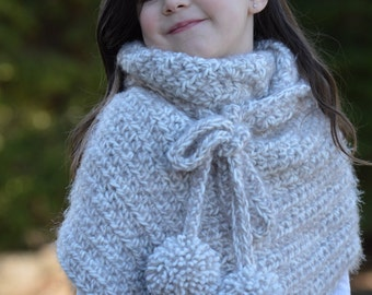 Crochet Shawl. Shoulder Wrap with Ties. Child size.