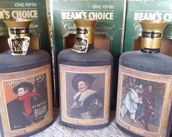 """Three Beam bottles 1966 Collectors Edition: """"Laughing Cavalier"""", """"Aristide Bryant"""", """"Mardi Gras"""" w/boxes"""