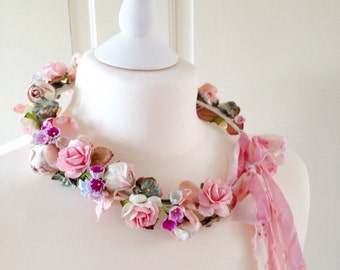 Enchanted Garden Floral Crown, Vintage Pink Wedding Halo Flower Crown