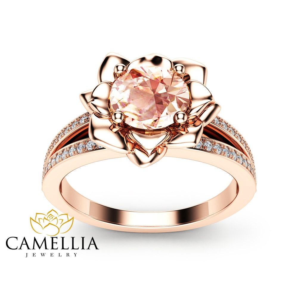 morganite flower engagement ring 14k rose gold flower. Black Bedroom Furniture Sets. Home Design Ideas