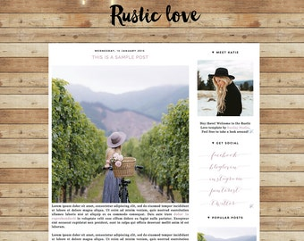 Premade Blogger Template - Instant Download - Rustic Love - Blogger Template - blogger theme - blog design - blogger blog template