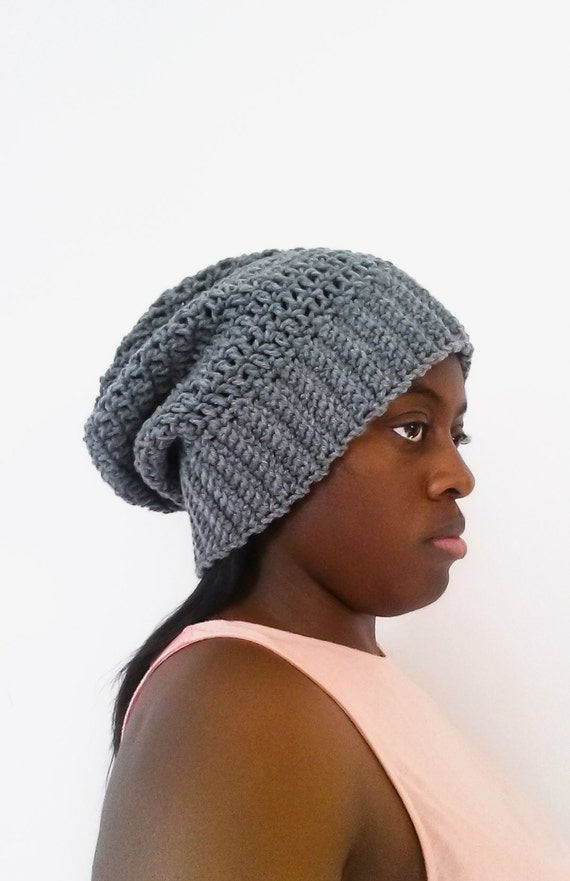 Grey Crochet Slouchy Beanie, Best Friend Gifts, Best Selling Items, Gift for Girlfriend, Crochet Unisex Hat, Gift for Boyfriend