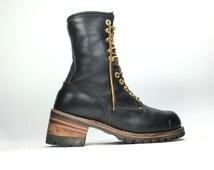 8.5 - Vintage Men's Carolina Logger Boots Black Leather