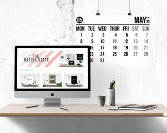 2017 Wall Planner // Calendar, Large Format, Black and White Calendar, Large Calendar, 2017 Calendar, Office