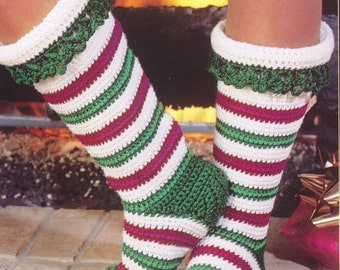 Crochet Womens Slippers Socks, Accessories, Adult Crochet Slippers, Home Shoes, Crochet Women Slippers Holiday Stockings- PDF Download
