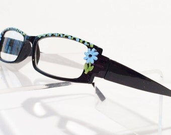 Blue Daisy Reading Glasses, +2.25 Glasses, Hand Painted