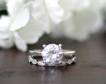 2.32 ct.tw Bridal Set Ring-Art Deco Solitaire Set Ring-Brilliant Cut Diamond Simulant-Wedding Set Ring-Solid Sterling Silver [61353-2]